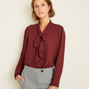 Ann Taylor Houndstooth Bow Neck Blouse